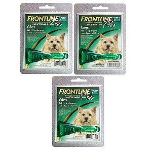 Antipulgas e Carrapatos Frontline Plus para Cães de até 10Kg 3 unidade combo