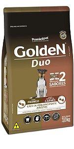Ração Golden DUO Frango à Moda Caipira e Seleção de Carnes ao Molho Mini Bits 3kg