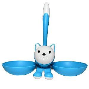 Comedouro Duplo de Gatos Gatito 250ml - YanPet Azul e Branco