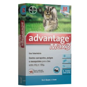Antipulgas e Carrapatos Bayer Advantage MAX3 com 1 mL para Cães de 4 a 10 Kg 1 unidade
