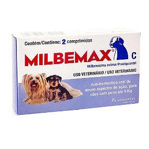 Vermífugo Milbemax C para Cães até 5 Kg - 2 Comprimidos