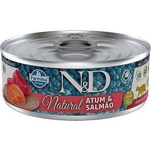 Ração Úmida Lata Farmina N&D Natural Atum e Salmão para Gatos Adultos 80gr