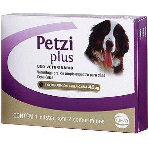 Vermífugo Ceva Petzi Plus para Cães 40kg 2 Comprimidos