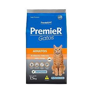 Ração Premier Gatos Ambientes Internos Adultos Frango 7,5kg