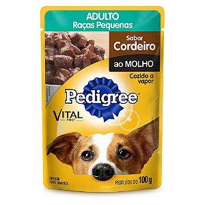 Ração Úmida Pedigree Sachê Cordeiro ao Molho para Cães Adultos de Raças Pequenas - 100g  *Imagem Meramente Ilustrativa*
