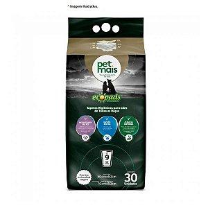 Tapete Higiênico Ecopads (9xixis) 30 Unid - Pet Mais  (área total: 80x60cm) (área de absorção: 70x50cm)