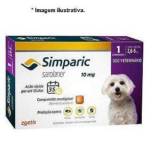 Antipulgas Zoetis Simparic 10mg para Cães 2,6 a 5Kg - Unidade