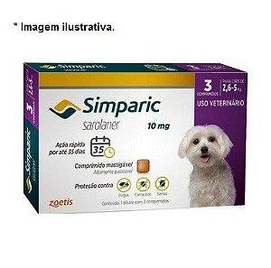 Antipulgas Zoetis Simparic 10mg Combo para Cães 2,6 a 5Kg - 3 comprimidos