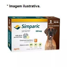 Antipulgas Zoetis Simparic Combo 120mg para Cães 40,1 á 60Kg - 3 comprimidos