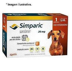 Antipulgas Zoetis Simparic 20mg para Cães 5,1 a 10Kg - Unidade