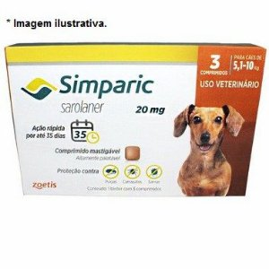 Antipulgas Zoetis Simparic Combo 20mg para Cães 5,1 a 10Kg - 3 comprimidos