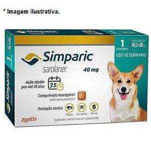 Antipulgas Zoetis Simparic 40mg para Cães 10,1 a 20Kg - Unidade