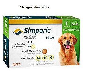 Antipulgas Zoetis Simparic 80mg para Cães 20,1 a 40Kg - Unidade  - Vencimento: Nov/21
