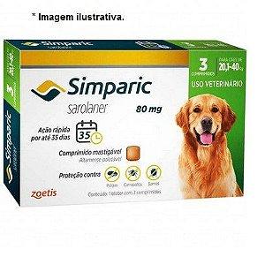 Antipulgas Zoetis Simparic Combo 80mg para Cães 20,1 a 40Kg - 3 comprimidos