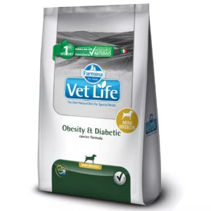 Ração Farmina Vet Life Natural Obesity & Diabetic Mini Breeds para Cães Adultos - 2kg      *Imagem Meramente Ilustrativa*