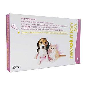 Antipulgas e Carrapatos Zoetis Revolution 6% para Cães e Gatos até 2,5 kg - 15 mg 3 unidade