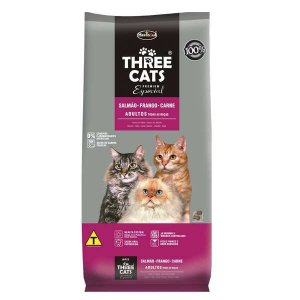 Ração Hercosul Three Cats Especial Salmão, Frango e Carne para Gatos Adultos 15kg
