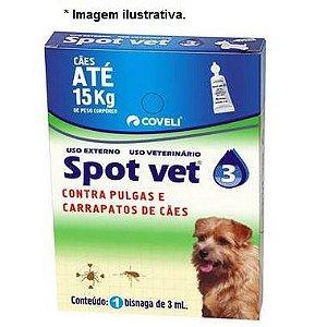 Antipulgas Coveli Spot Vet 3 para Cães até 15 Kg 3ml 1 Bisnaga