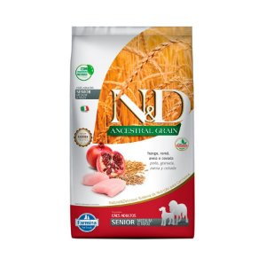 Ração Farmina N&D Ancestral Grain para Cães Sênior de Porte Medium Sabor Frango e Romã 10,1kg