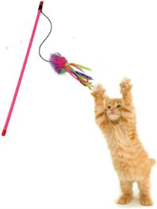Brinquedo Gatos Varinha Com Bola Aproximadamente 50cm