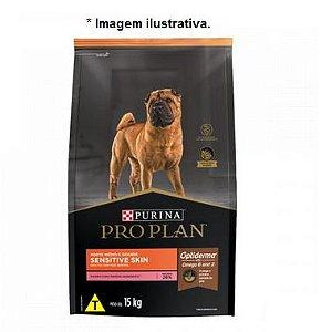 Ração Super Premium Purina Pro Plan Sensitive Skin Cães Adultos  Médios e Grandes 15kg