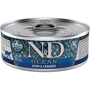 Ração Úmida Lata Farmina N&D Ocean Atum e camarão para Gatos Adultos