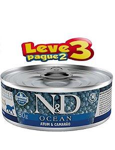 Ração Úmida Lata Farmina N&D Ocean Atum e camarão para Gatos Adultos 80gr(SELECIONE 2 LATAS NO SEU PEDIDO E RECEBA 3)