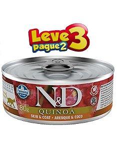 Ração Úmida Lata Farmina N&D Quinoa Skin & Coat Arenque & Coco para Gatos Adultos 80gr(SELECIONE 2 LATAS NO SEU PEDIDO E RECEBA 3)