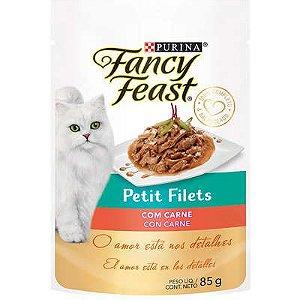 Racão Úmida Fancy Feast Sachê Petit Filets com Carne para Gatos Adultos