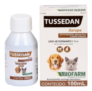 Tussedan Xarope para Tosse Cães e Gatos - Expectorante Biofarm 100ml