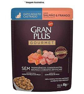 Ração Úmida Sachê Gran Plus Gatos Gourmet Castrado Salmão e Frango 85gr
