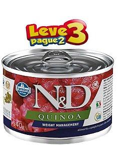 Ração Úmido Lata N&D Cães Quinoa Weight Management 140g(SELECIONE 2 LATAS NO SEU PEDIDO E RECEBA 3)