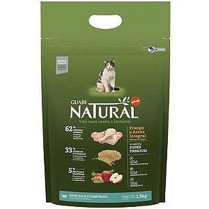 Ração Guabi Natural para Gatos Castrados sabor Frango & Arroz Integral 1,5kg