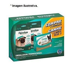 Kit Antipulga com 02 Fiprolex Cães até 10kg Ganhe 01 Canex plus 3 com  4 comprimidos  até 10kg