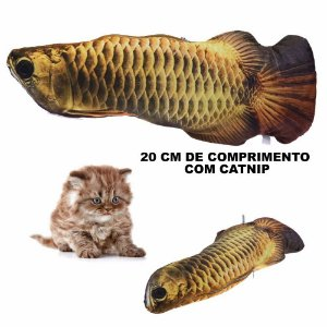 Brinquedo Gatos Peixe Aruana com Cat nip