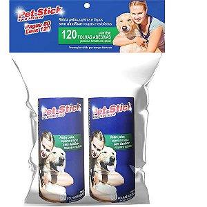 Kit Refil Rolo Adesivo Pet-Stick - 2 Rolo de 60 Folhas Cada