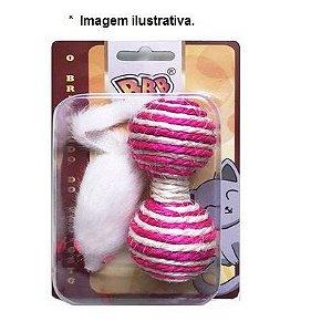Brinquedo para Gatos com Halteres de Sisal e Ratinho de Pelúcia -  com 02 unidades