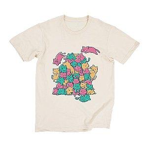 Camiseta Bege Todos Miaus (Unissex)
