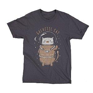 Camiseta Preta Space Cat (Unissex)
