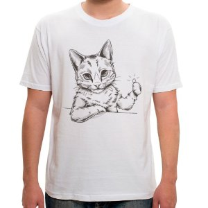 Camiseta Branca Cool Cat (Unissex)