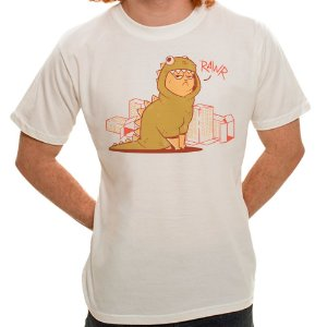 Camiseta Bege Dino Cat (Unissex)