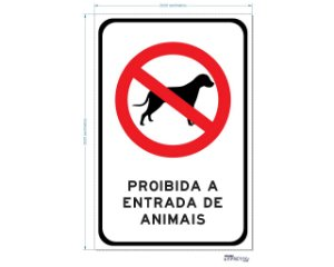 PROIBIDA A ENTRADA DE ANIMAIS ADESIVO OU PLACA