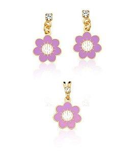 Conjunto infantil brinco e pingente flor lilás folheado a ouro