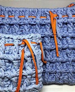 Kit Bolsas Mãe e Filha em Fio de Malha Azul