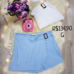 Shorts Saia Azul/Branco