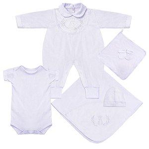 Saída Maternidade Realeza Luxo Branco 6 Peças
