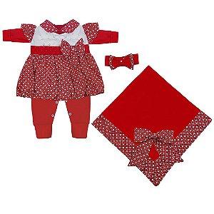 Saída Maternidade Balonê Vermelho 4 Peças