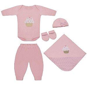 Saída Maternidade Cupcake Rosa 5 Peças