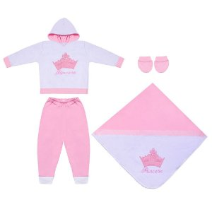 Saída Maternidade Princesinha Rosa 4 Peças