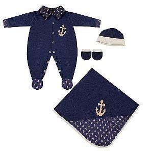 Saída Maternidade Marinheiro Luxo 4 Peças